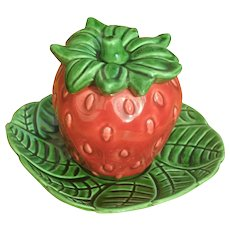 Vintage Californian Cemar Pottery Strawberry Jam Pot.