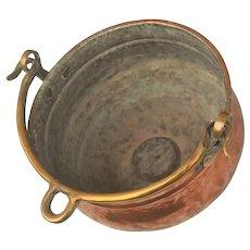 Handmade Copper Cauldron. Hand Beaten Pot with Brass Handle.
