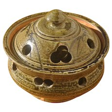 Vintage Asian Pottery Incense Burner. Unusual Burner Pot with Lid.