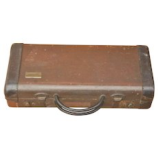 Vintage Musical Instrument Case. Old Conn Hard Case with Leather and Latches.