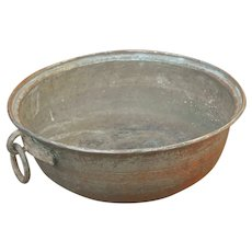 Vintage Copper Preserving Pan with Side Ring.