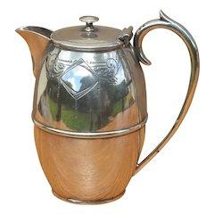 English Silver Metal Teapot or Hot Water Pot.