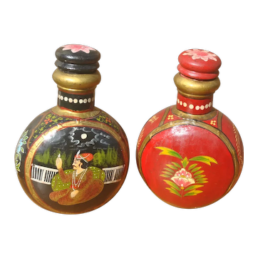 2 Hand Painted Indian Vintage Water Bottle. Traditional Metal Canteens.