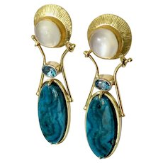 Moonstone ,Chrysocolla and Blue Zircon 18k and 24k Earrings