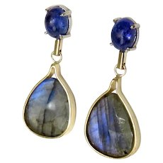 "Tanzenite with Faceted Labradorite ""Blue Dream "" Dangle Earrings"