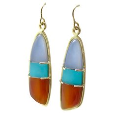 Turquoise, Carnelian and Blue Chalcedony Gem Sculpture Earrings