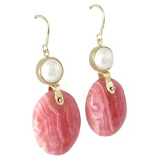 Rhodochrosite and Cultured Pearl 14K Gold Earrings