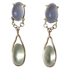 Moonstone and Blue Chalcedony Dangle Earring in 18K