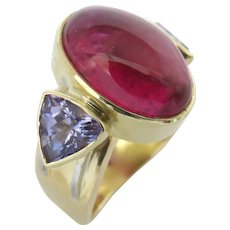Tourmaline Cabochon Red and Tanzanite Trillions in 18K Gold