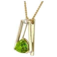 "Peridot Trillion-Cut & Diamond ""Fulcrum ""  Pendant"