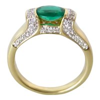 Emerald and Diamond Pave Ring in 18K Gold