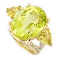 Citrine in Lemon Color & Golden Beryl Trillion Cut 14K Gold Ring