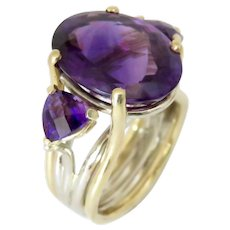 Amethyst Oval and Amethyst Trillion 18K Gold Ring