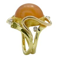 Moonstone Peach and Diamonds in 18K and 24K Gold Ring