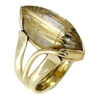 Rutilated  Quartz  Marquise Cabochon 14K Ring