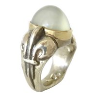 Green Moonstone in 18K Gold and Sterling Silver Ring