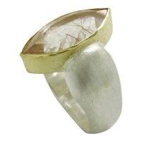 Rutile in Quartz faceted Marquise Ring
