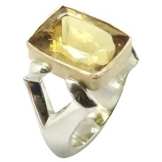 Chrysoberyl Faceted 18K and Sterling Silver Ring