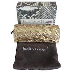 Vintage JUDITH LEIBER Lipstick Case-Holder-Mirror-Swarovski Crystal-Champagne-Gold-Lovely!