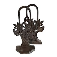Pair of Cast Metal Floral Basket Bookends