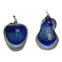 Murano Sommerso Barbini Cobalt Art Glass Apple & Pear