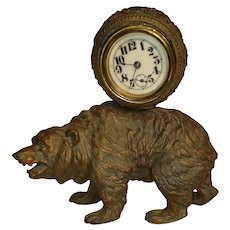 Victorian Brass Bear Clock Pat. 1894