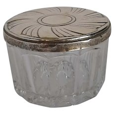 Sterling and crystal dressing table jar.