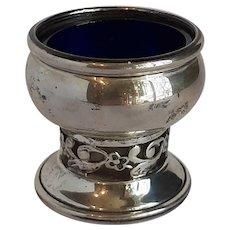 Cartier sterling and cobalt glass salt well