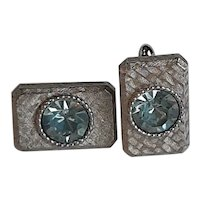 Blue Rhinestone Costume Cufflinks