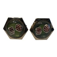 1950s Gambling Dice Reverse Painted Cufflinks