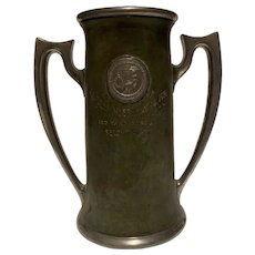 Loving Cup 1921 University Colorado Track Trophy Copper Patina with Silver Handle