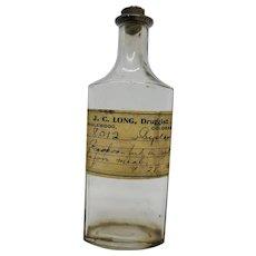 Apothecary Bottle j c long Druggist