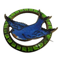 Blue & Green Enamel Swallow Brooch