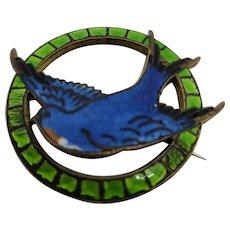 Blue & Green Enamel Swallow Brooch