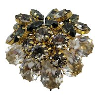 Clear & Smokey Schoffel & Co Rhinestone Cluster Brooch