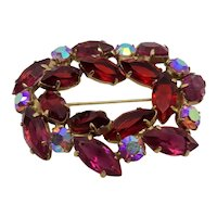 Oval Red Rhinestone Brooch