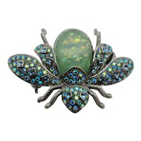 Rhinestone Bee Brooch Blue & Green
