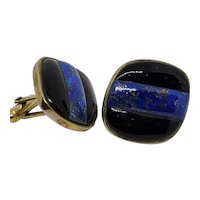 Mid Century Black & Blue Ceramic Cufflinks