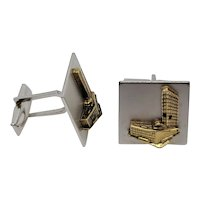 Gold tone and black Architecture Building Cufflinks