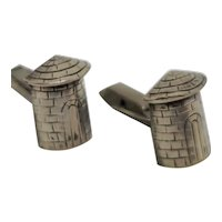 Taxco 925 Sterling Brick Tower Cufflinks