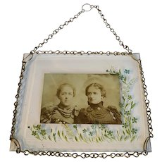 Victorian Glass Hand Painted Picture Frame