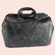 Tooled Mexican Leather Purse Doctor's Bag