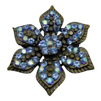 Blue Rhinestone Forget-Me-Not Pin Brooch