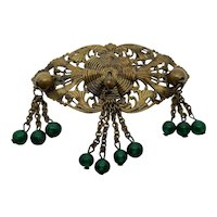 Czech Brass and Glass Brooch With Dangles