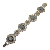 800 Silver Filigree Bracelet with Hematite