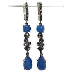 925 Silver Chalcedony Marcasite  Earrings