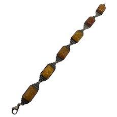 Sterling 925 & Amber Link Bracelet