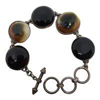 Shiva Cat Eye Operculum 925 Sterling Bracelet