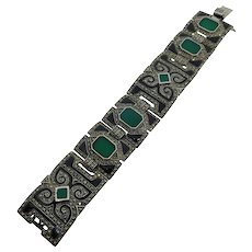 925 Sterling & Chalcedony Bracelet  Art Deco Style