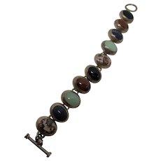 Sterling 925 Multi Stone Cabochon Bracelet